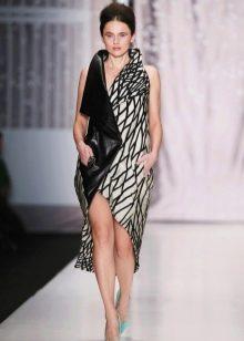 Кожаное платье комбинированное с запахом