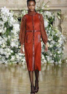 Кожаное платье комбинированное оранжевое