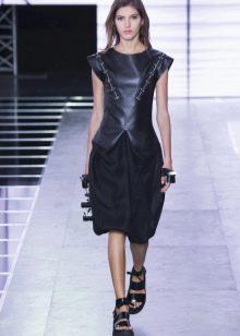 Платье миди с кожаным верхом