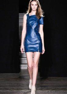 Кожаное платье синее