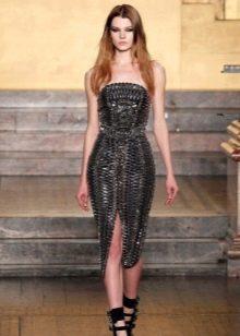 Кожаное платье с корсетом миди
