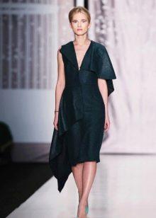 Кожаное платье асимметричное миди