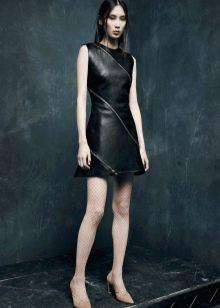 Кожаное платье мини