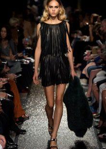 Кожаное платье с бахромой