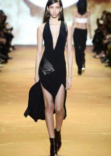 Кожаное платье комбинированное со вставкой