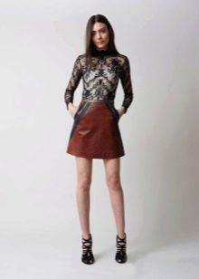 Кожаное платье комбинированное с кружевом