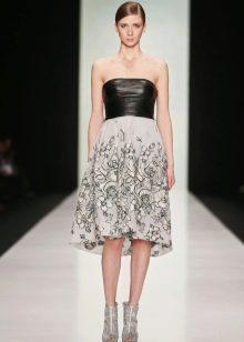 Платье А-силуэта с кожаным верхом