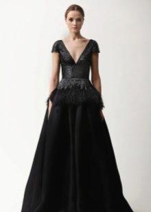 Кожаное платье вечернее А-силуэта