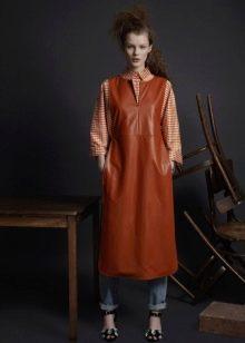 Кожаное платье на каждый день коричневое