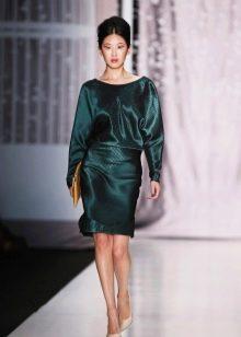 Кожаное платье зеленое