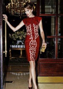 Кожаное платье красно-белое