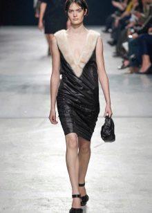 Кожаное платье комбинированное с мехом