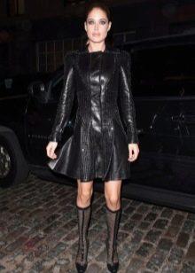 Кожаное платье черное с рукавами