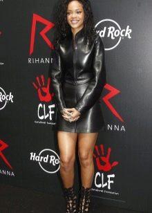 Кожаное платье черное мини