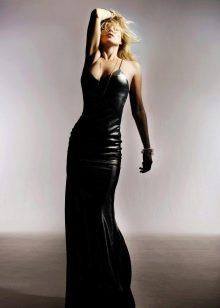 Кожаное платье вечернее в пол