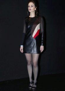 Кожаное платье прямое со вставками