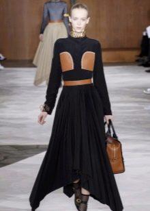 Кожаное платье комбинированное с карманами