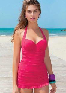 Короткое купальное розовое платье