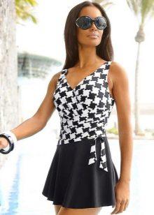 Черно-беое купальное платье
