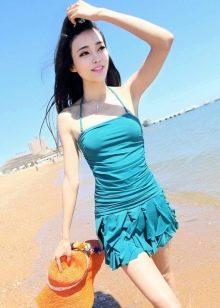 Бирюзовое купальное платье