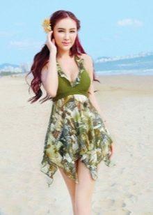 Купальное платье с асимметричной юбкой