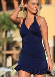 Синее купальное платье