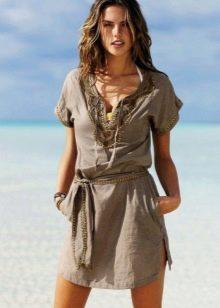 Летнее платье-туника из хлопка