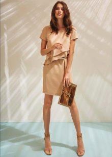 Платье для работы офисное бежевое