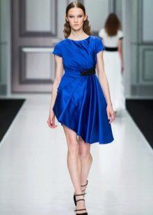 Осеннее платье  синее с асимметрией