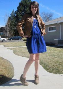 Платье-бандо в сочетание с курткой