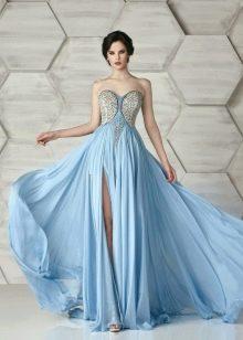 Платье без бретелей вечернее с декором