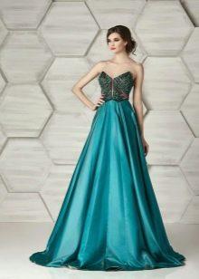 Платье без бретелей вечернее от Элионор Кутюр зеленое