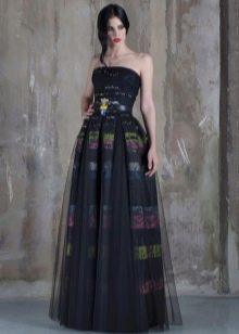 Платье без бретелей пышное черное