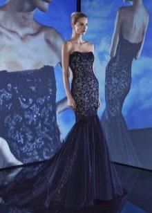 Платье без бретелей русалка с кружевом