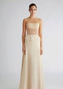 Платье без бретелей бежевое