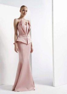 Платье без бретелей с декором на корсете