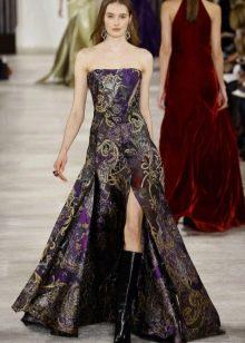 Платье без бретелей А-силуэта с разрезом