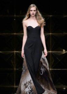 Платье без бретелей А-силуэта черное