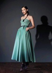 Платье без бретелей бирюзовое а-силуэта