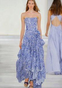 Платье без бретелей в пол бело-синее