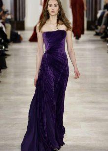 Платье без бретелей с драпировкой в пол