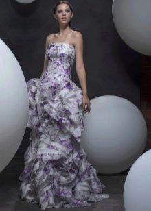 Платье без бретелей вечернее многоярусное
