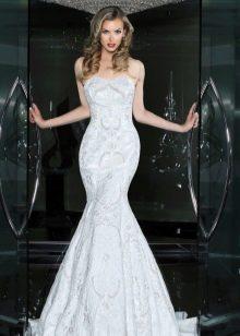 Платье без бретелей свадебное русалка