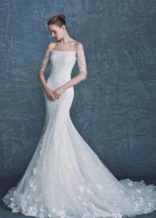 Платье без бретелей свадебное русалка с рукавами