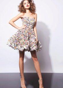 Платье без бретелей разноцветное пышное