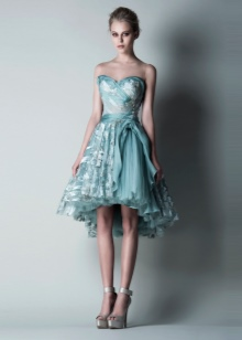 Платье без бретелей бирюзовое