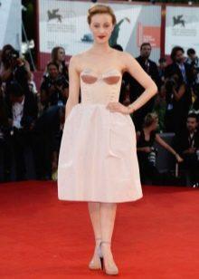 Платье-бюстье средней длины с юбкой колокол