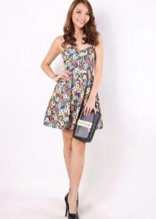 Платье-бюстье с юбкой солнце с цветочным принтом