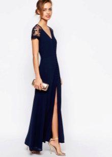 Длинное платье-халат на пуговицах