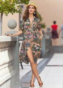 Повседневное платье-халат с принтом на пуговицах